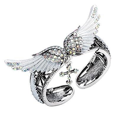 Top YACQ Jewelry Women's Cross Angel Wings Stretch Bangle Bracelet free shipping