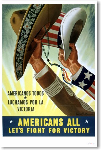 Americans All - Americanos Todos - Let's Fight For Victory - Vintage 1943 Reproduction Poster