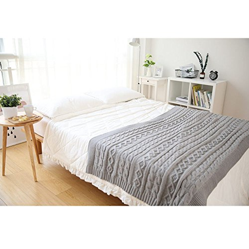 Nordic Style Knitting Blanket 100% Acrylic Knitted Throw Blanket Decorative Blanket for Sofa Bed Couch Chairs Air Condition Room 43''x71'' by Funida Home