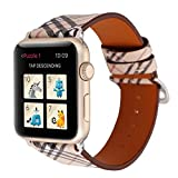 TCSHOW For Apple Watch Band 38mm,38mm Soft PU Leather Pastoral/Rural Style Replacement Strap Wrist Band with Silver Metal Adapter for Series 3 Series 2 and Series 1 (Z7)