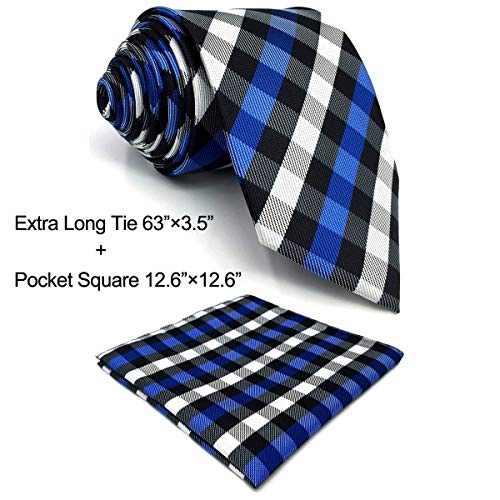 SHLAX&WING Tie Set for Men Long Necktie with Pocket Square Checkered Blue White