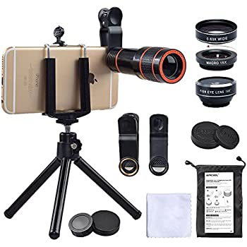 Cell Phone Camera Zoom Lens Kit 4 In 1 Hd 12x Optical Telescope Zoom Lens Fisheye Wide Angle Macro Lens With Universal Clip Tripod For Iphone