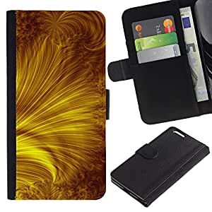 For Apple iPhone 6 Plus(5.5 inches),S-type® Yellow Gold Rays Abstract - Dibujo PU billetera de cuero Funda Case Caso de la piel de la bolsa protectora