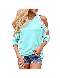Realdo Women Off Shoulder Lace Top Long Sleeve Blouse Ladies Casual Tops Shirt