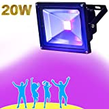 YQL Outdoor LED Blacklight,AC85~265V High Power 20W UV LED Flood Light IP65 Waterproof Black Lights for Parties Neon Glow Party, Glow in The Dark Party Supplies Decorations,Curing