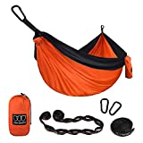 XL Double Parachute Camping Hammock – Tree Portable with Max 1000 lbs Breaking Capacity – FREE 16 Loops Tree Strap & Carabiners For Backpacking, Camping, Hiking, Travel, Yard (Orange / Black) Review