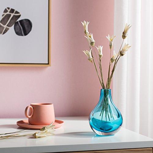 Casamotion Home Decor Accent Vase Hand Blown Art Solid Color Glass Bud Vase Blue Buy Online