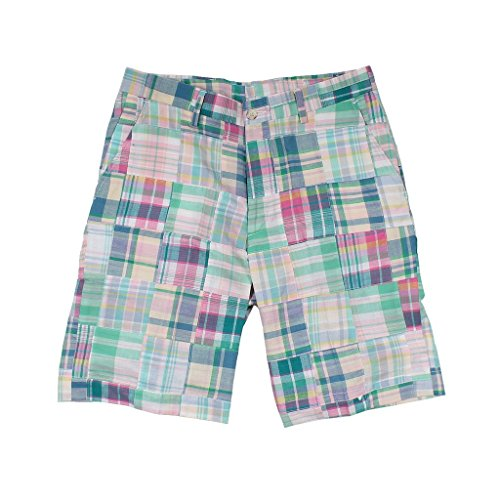 (Country Club Prep Pastel Patchwork Madras Shorts)