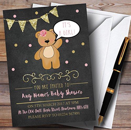Chalk Gold Girls Teddy Bear Invitations Baby Shower - Info For Kids Gold