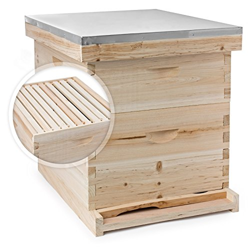 honey-keeper-beehive-20-frame-complete-box-kit-10-deep-and-10-medium-with-metal-roof-for-langstroth-