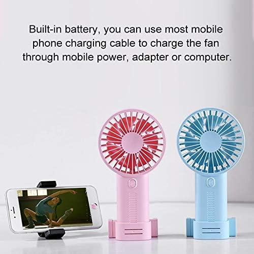 Dark Blue Mini Fan Color : Dark Blue GHP F02 Multi-Function Portable Adjustable Mini USB Charging Phone Holder Handheld Small Fan with 3 Speed Control