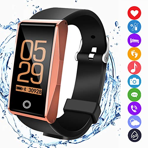 Fitness Tracker Watch Activity Smart Bracelet with Pedometer Heart Rate Blood Pressure Sleep Monitor Weather Music Control IP67 Waterproof for iOS Android Men Women Kids