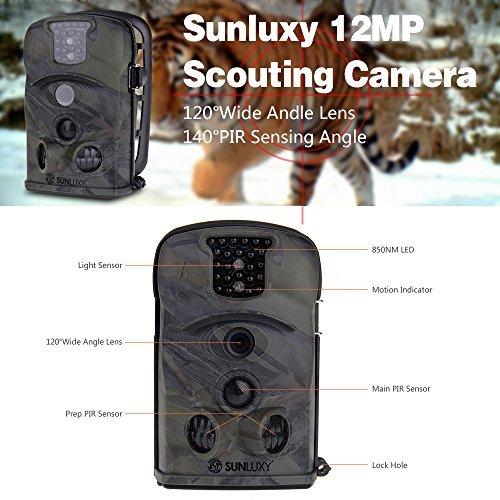 SUNLUXY® Cámara de caza de 12MP cámara impermeable gran angular de 140 ° Pantalla de 2.3 pulgadas LCD visión nocturna al aire libre con Tarjeta SD 4G ...