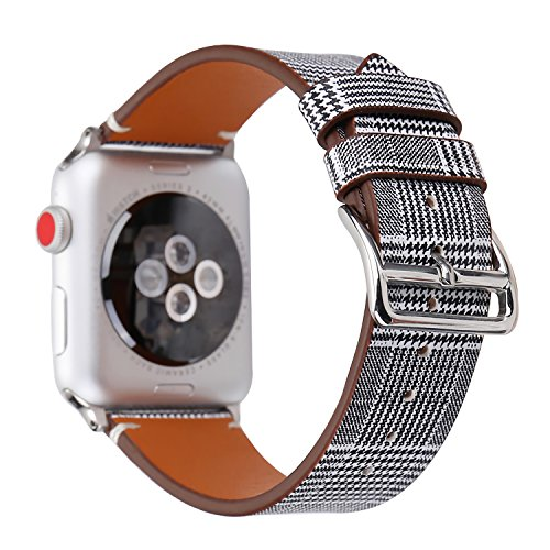 WONMILLE for Apple Watch Band 38mm 42mm, Houndstooth Pattern with Genuine Leather iWatch Strap Replacement for Apple Watch Series 4 Series 3 Series 2 Series 1 Hermes&Edition (Black Stripes, 38mm)