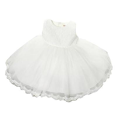 731fa7add9200 Robe Fille Princesse Elegant Costume Cérémonie Mariage Sans Manches  Dentelle Col Rond Enfant Robe Blanc 6-8 ans