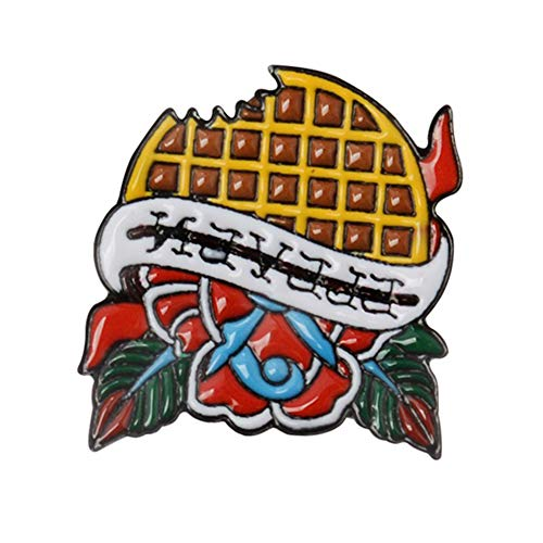 856store Clearance Sale Waffle Flower Enamel Brooch Pin Button Badge Accessory for Denim Jacket Lapel Red