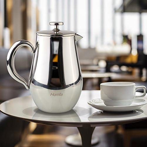 HOMFA Cafetière à Piston en Acier Inoxydable de 1L, Machine à Presser Le Café Filtre fin Cafetiere Nespresso avec Paroi Doublé Résistant à Chaleur pour Café et Thé