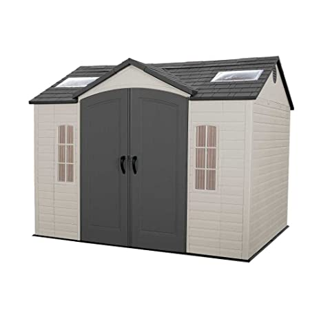 lifetime 60005 outdoor storage shed with windows skylights and shelving 8 by 10 feet - Garden Sheds With Windows