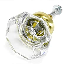 Clear Crystal Octagon Glass Cabinet Knobs (2) Drawer Pulls & Handles ~ T32 Classic Flame Polished Glass Knobs with Brushed Brass Base for Kitchen Cabinet, Cupboard, Dresser or Vanity