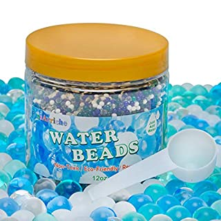 FansArriche Ocean Water Beads for Kids Tactile Sensory Experience, 12 Oz Blue Sensory Beads with Counting Spoon