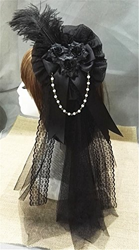 Lolita Fabric Blooming Rose Flower Lace Ribbon feather Hair Decorations Wedding Party Hairs Clip Bridal Wedding Accessories (Black Veil)