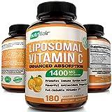 NutriFlair Liposomal Vitamin C 1400mg - 180 Capsules - High Absorption, Fat Soluble VIT C, Antioxidant Supplement, Higher Bioavailability Immune System Support & Collagen Booster, Non-GMO, Vegan Pills