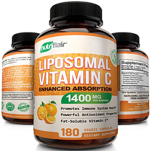 NutriFlair Liposomal Vitamin C 1400mg - 180 Capsules - High Absorption, Fat Soluble VIT C, Antioxidant Supplement, Higher Bioavailability Immune System Support & Collagen Booster, Non-GMO, Vegan Pills