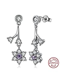 PAHALA 925 Sterling Silver Not Forget Me Purple Drop With Crystals Party Wedding Earring