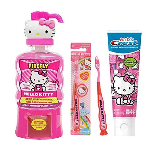 Ready Set Brush Hello Kitty Manual Toothbrushes with Cap, Hello Kitty BubbleGum Crest Kids Toothpaste Plus Bonus Firefly Hello Kitty Melon Kiss Flavor Anticavity Fluoride Rinse, 14 fl oz