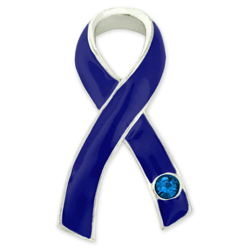 PinMart's Blue Awareness Ribbon with Rhinestone Enamel Lapel Pin by PinMart