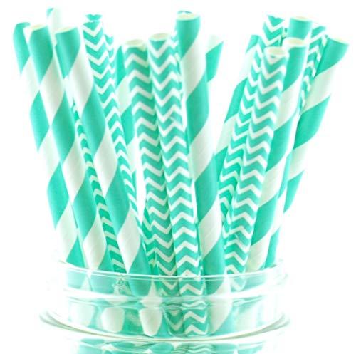 - Blue Aqua Striped & Chevron Straws, Paper Drinking Straws, Dessert Table Wedding Party Straws (50 Pack) - Teal Aqua Blue Striped & Chevron Straws