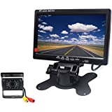 Padarsey 12V 24V Vehicle Backup Camera System Rear View Camera Support Night Vision Waterpoof & 7 Monitor with 34 ft AV Cables(with Guide line) for Bus/Truck Van/Trailer/RV/Campers