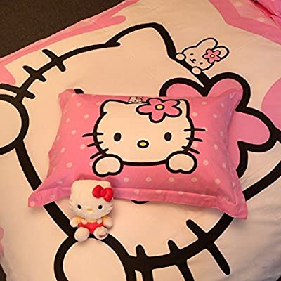 Casa 100% Cotton Kids Bedding Set Girls Hello Kitty Duvet Cover and Pillow case and Fitted Sheet,Girls,3 Pieces,Twin: Home & Kitchen