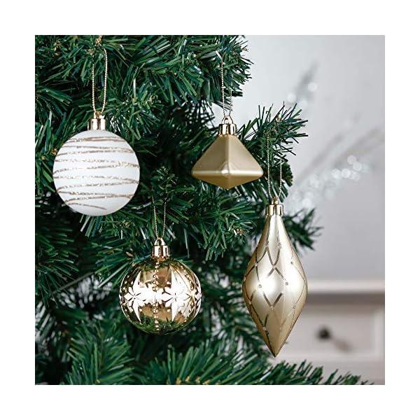 Valery Madelyn Palle di Natale 90 Pezzi di Palline di Natale, 3-10 cm Eleganti Ornamenti di Palla di Natale Infrangibili Bianchi e Oro per la Decorazione Dell'Albero di Natale 4 spesavip