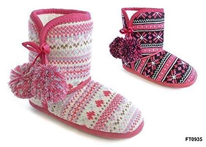 Las niñas patrón de punto botas Zapatillas con pompones., algodón mixto, lila /