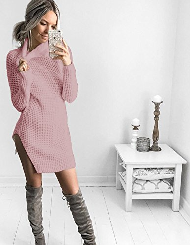 Manches Col Sweater Maille Tricots Montant Jumper en Sexy Minetom Pull Chandails Dress Femme Robe Pure Couleur Maille Mini Rose Longues Tops q4TESgSIw