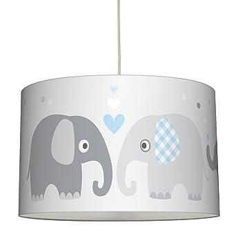 Lovely Label Hangelampe Elefanten Blau Grau Lampenschirm Fur Kinder Baby Schirm Mit Elefanten Hangeleuchte Fur Schones Licht Im Kinderzimmer