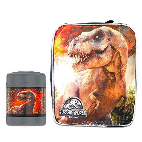 (Jurassic World Thermos Lunch Box and Funtainer Set for Kids - Bundle Includes Dual Compartment Insulated Lunch Box and 12 Hour Cold Drink Stainless Steel Funtainer Water Bottle)