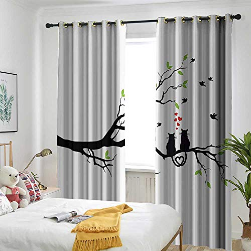 AndyTours Cat Lover Decor Collection Curtains for Bedroom Cats in Love on Tree Branch with Flying Birds Nature Romance Illustration Energy Efficient, Room Darkening 72