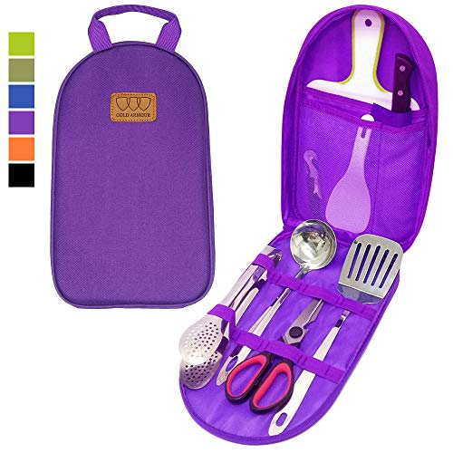 - 8Pcs Camping Cookware Kitchen Utensil Organizer Travel Set - Portable BBQ Camp Cookware Utensils Travel Kit with Water Resistant Case, Cutting Board, Rice Paddle, Tongs, Scissors, Knife (Purple)