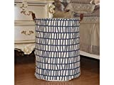 Gelaiken Lightweight Geometric Patterns Storage Bucket Canvas Bag Sundries Storage Bucket(Blue+White)