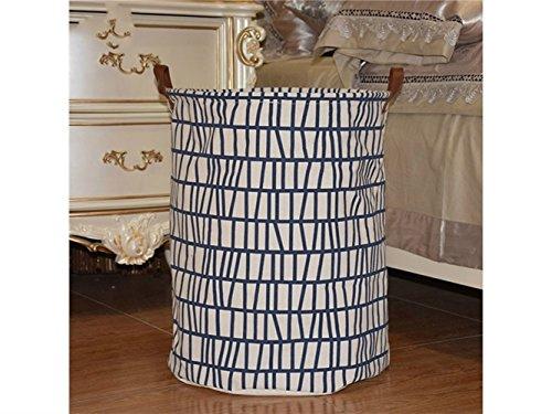 Gelaiken Lightweight Geometric Patterns Storage Bucket Canvas Bag Sundries Storage Bucket(Blue+White) by Gelaiken