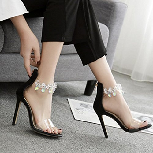 Toed Heels Leopard Open Slippers Women HUHU833 Fashion Heel Black High Transparent Sandals twHIYaxqE