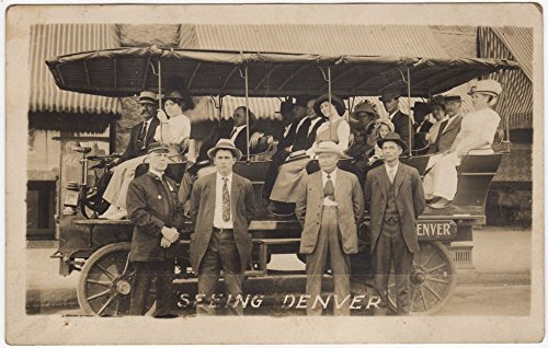 Real Photo Postcard People on a Sight Seeing Car Bus Truck in Denver, Colorado