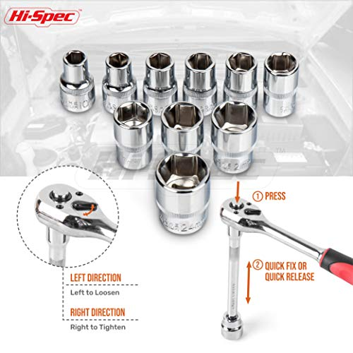Hi-Spec 12pc 1/2'' Metric Socket Set with 72 Teeth Ratchet Drive Socket Handle with Quick-Release Function, 10-24mm Socket Sizes & 125mm Extension Bar with Convenient Storage Rack Multi-Socket Set by Hi-Spec (Image #3)
