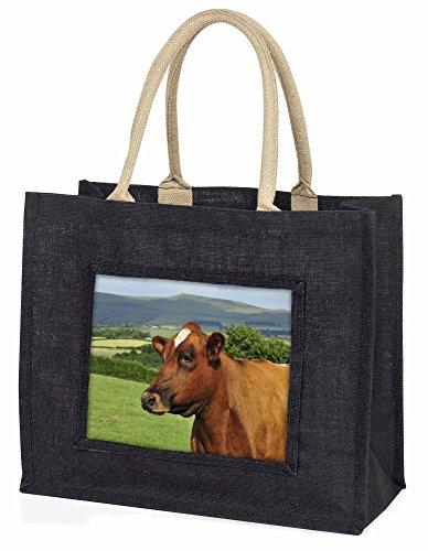 Advanta eine feine braun Kuh Große Einkaufstasche/Weihnachtsgeschenk, Jute, schwarz, 42x 34,5x 2cm