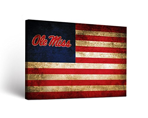 Victory Tailgate Mississippi Ole Miss Rebels Canvas Wall Art Vintage Flag Design (18x24)