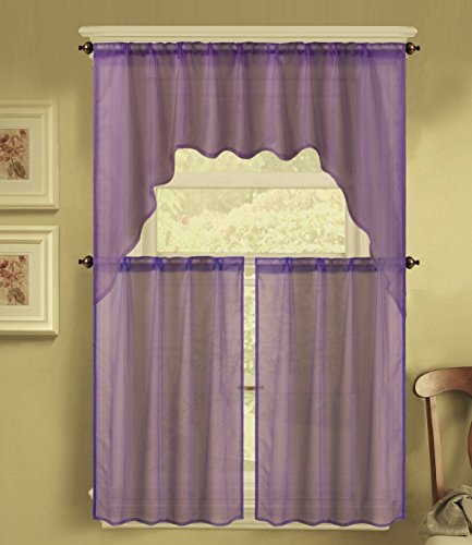 3 PC Solid Voile Rod Pocket Kitchen Window Sheer Curtain Set 2 Tier Panels, 1 Swag Valance (55