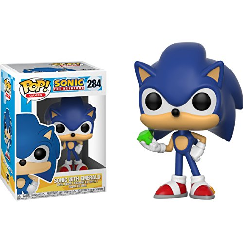 Sonic w/ Emerald: Sonic The Hedgehog x Funko POP! Games Vinyl Figure & 1 PET Plastic Graphical Protector Bundle [#284 / 20147 - B]