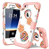 iPhone 5s Case,iPhone SE case,iPhone 5 case,PIXIU Unique Hybrid Dual Layer [Hard PC+ Soft Silicone] Impact Full-Body Shockproof Protective Case for Apple iPhone 5s/5/SE Pineapple